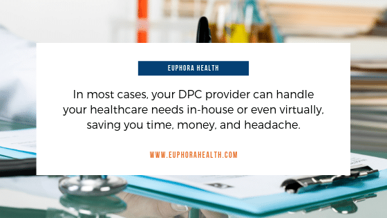 In most cases, your DPC provider can handle your healthcare needs in-house or even virtually, saving you time, money, and headache.